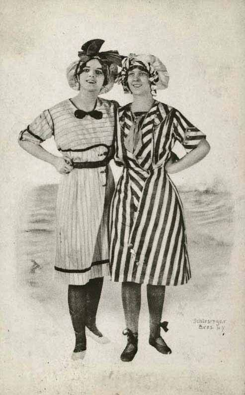 Bathing costumes, circa 1900.  Great biases on the right hand suit.