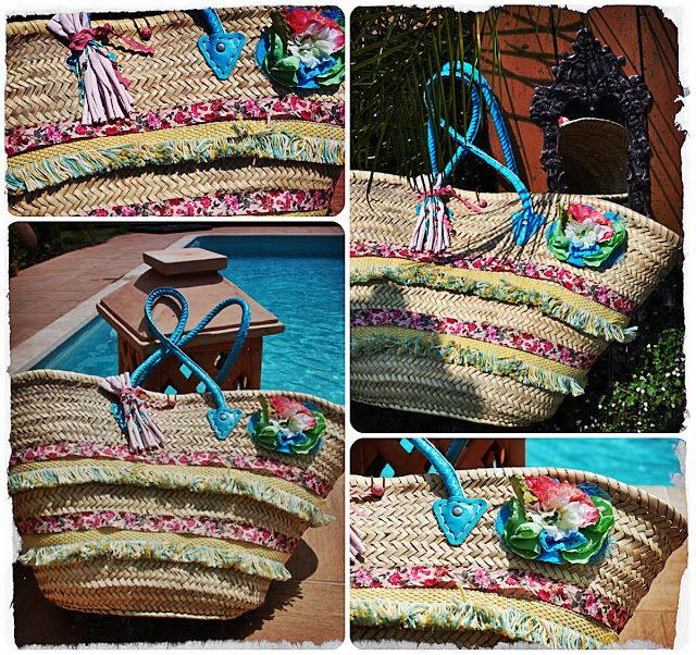 7 best moroccan embellished ornamented basket bags images - Capazos de mimbre decorados ...