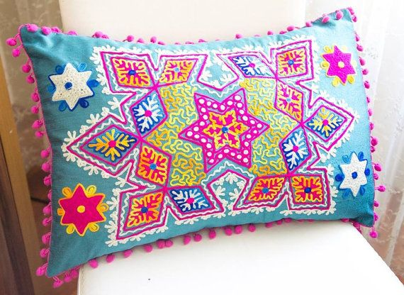 Air Force Blue Turkish Traditional Decorative  Pillow, Bohemian Cushion Cover, Embroidered Pillow, Cotton Pillow Case, Vintage Pillow Case