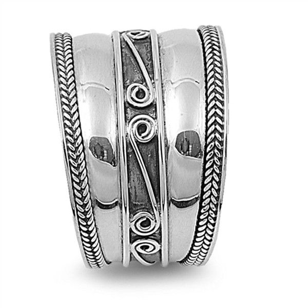 Sterling Silver Women/'s Bali Ring Wide 925 Band Rope Swirl Fashion Sizes 6-12