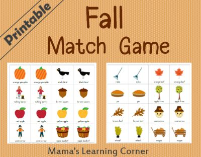 Free Printable Fall Matching Game #homeschool
