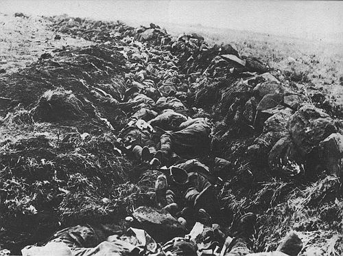 Unidentified photographer   Killed British soldiers lying in trenches after the Battle of Spioenkop, near Ladysmith, Natal, South Africa.   1900, January