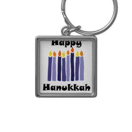 Cool Menorah Candles Happy Hanukkah Art Keychain - original gifts diy cyo customize