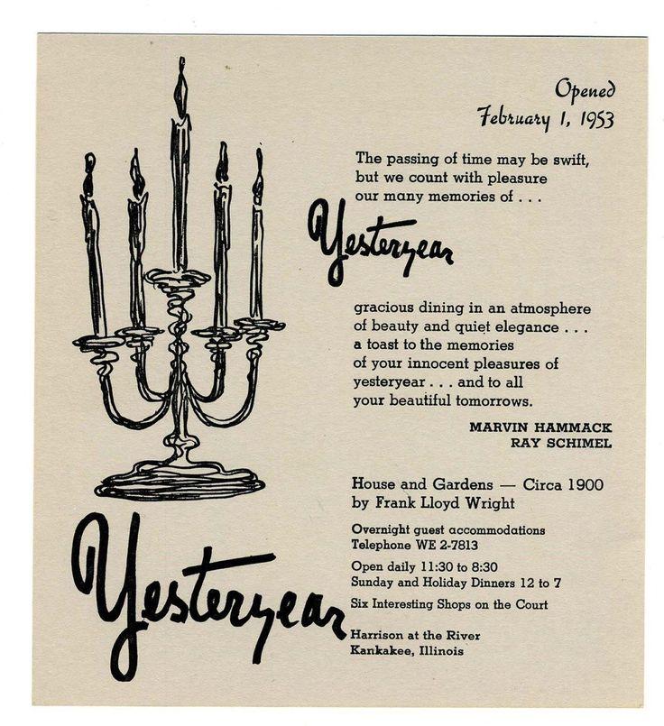 Yesteryear Gracious Dining Menu Kankakee Illinois Frank Lloyd Wright 1950's | eBay
