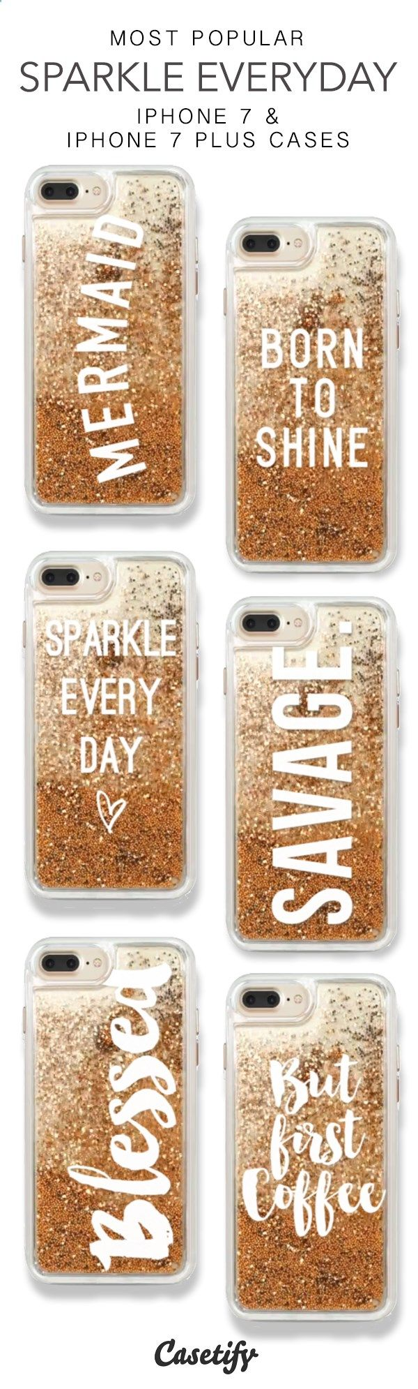 Phone Cases - Most Popular Sparkle Everyday iPhone 7 Cases & iPhone 7 Plus Cases. More glitter iPhone case here > www.casetify.com/...