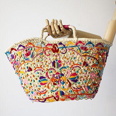 ファティマ モロッコ かごバッグ アフリカンビーズ ピンク - バブーシュと大人かわいい雑貨のセレクトショップ「マッシュノート」