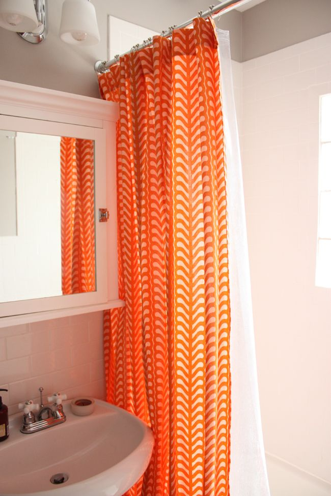 Orange Shower Curtain by noodlehead with lizzy house fabric.  I need this!!!