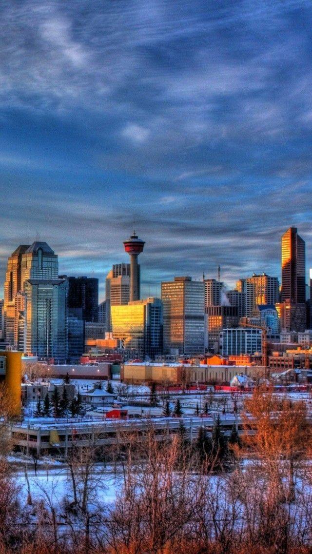 Calgary Cityscape Alberta Canada Iphone 5 Wallpapers Backgrounds 640 X 1136 Calgary