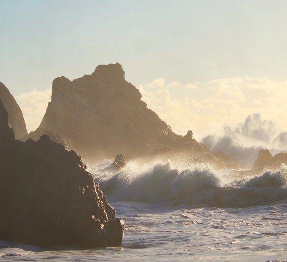 TITLE - sunset waves | Golden sunlit waves crash against a