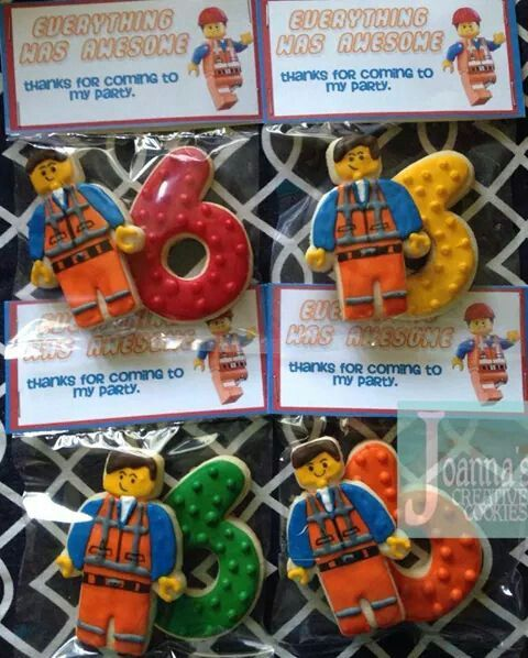 Lego movie cookie favors