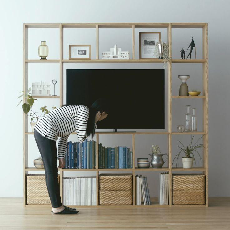AVラックとして使う - Stacking Shelf | Compact Life | 無印良品 AVラックとして使う: オープン型のパーツを組み合わせて、大きな開口部を設ければ、テレビもすっきり収まる壁面収納になります。