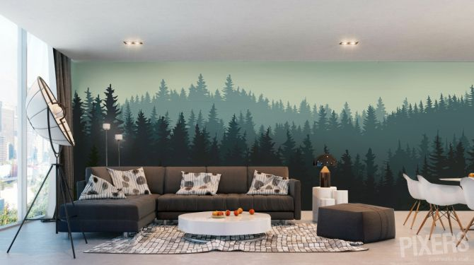 Charming forest themed wall murals murals crafts and - How to paint murals on bedroom walls ...