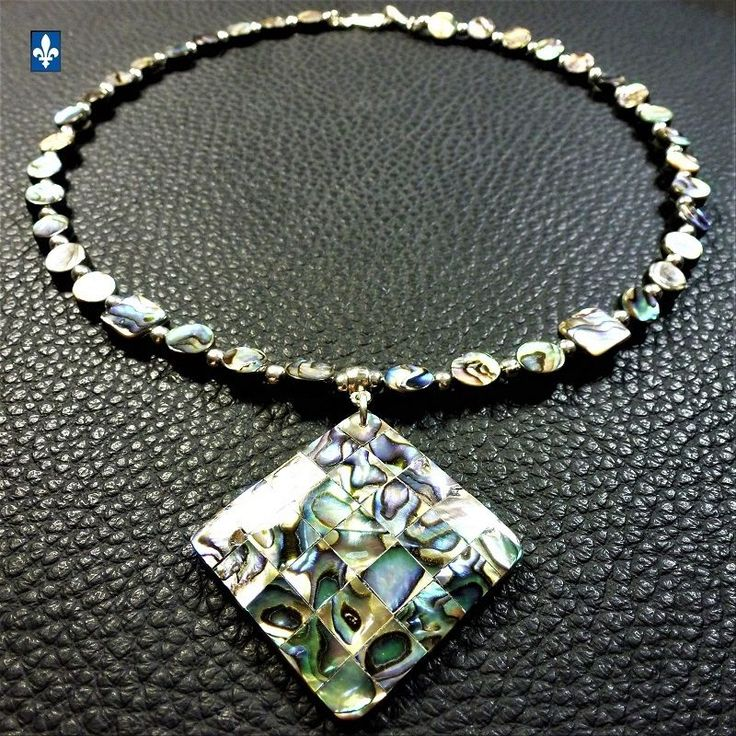 ♥ Gorgeous Multicolor Abalone Shell Silver Plated Pendant Necklace