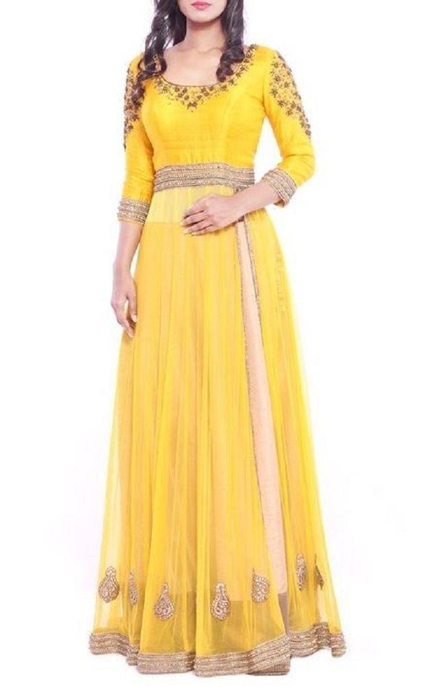Fatimabi Yellow Anarkali Dress Haldi Function Dress Designer Perfect Plus size #FatimaBi #AnarkaliKameez