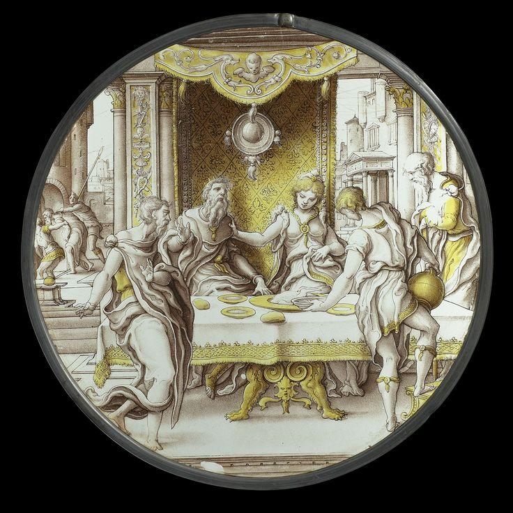 Anonymous | Saint John the Baptist before Herod, Anonymous, c. 1540 | Ronde gebrandschilderde ruit met voorstelling van Johannes de Doper bij Herodes. Achter een gedekte tafel zitten Herodes en Herodias onder een baldakijn, waarachter een tapijt hangt. Voor het tapijt hangt een spiegel. De pilasters zijn in rijke renaissancestijl versierd met krijgstrofeeën. Links voor de tafel staat Johannes. Zijn half naar Herodes gedraaide houding vindt haar tegenbeweging in de houding van de bediende…