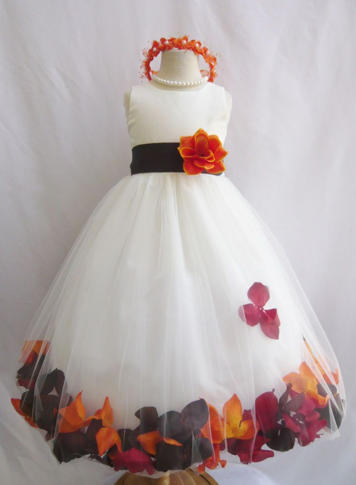 Customize infant toddler teen ivory rose petal wedding party flower girl dress #Rosepetaldress