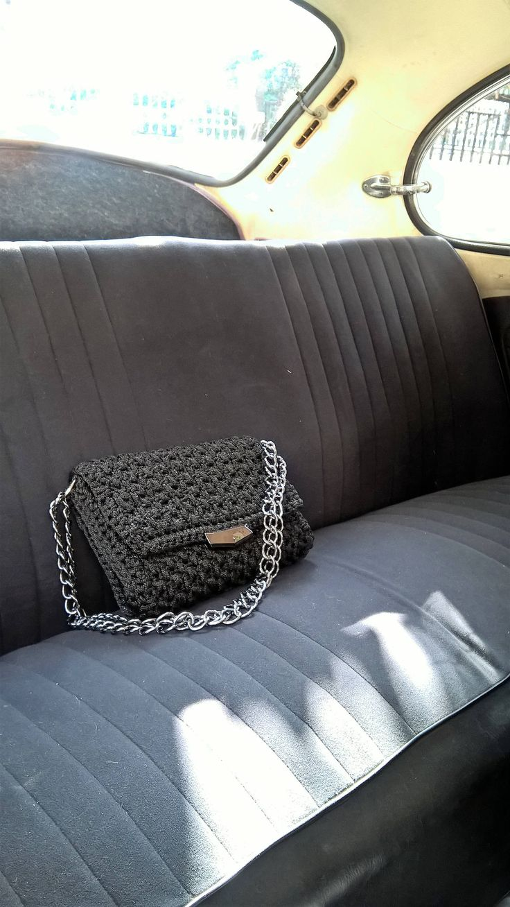 Handmade bag, Crochet black purse, Flap bag, Evening purse bag, Knitting purse, Black metallic color, Classical, Womens handbag, Fashion by FeMiGR on Etsy