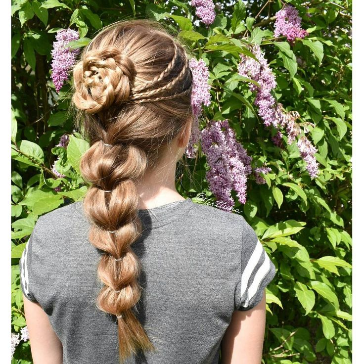 """Hair  by Terhi A (@terttiina) Instagram: """"Small accent braids and flower braid into a pull through braid. #pullthroughbraid #flowerbraid"""