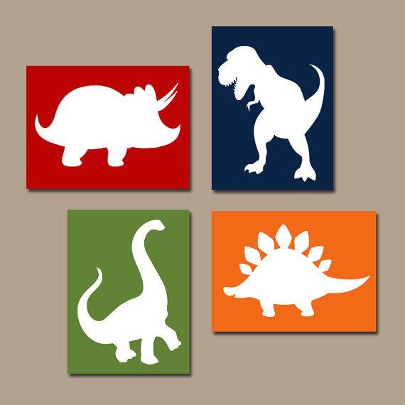 Arte de pared de dinosaurio, lona o impresiones, bebé niño dinosaurio vivero arte, Big Boy dormitorio fotos, decoración temática DINO, juego de 4                                                                                                                                                                                 Más