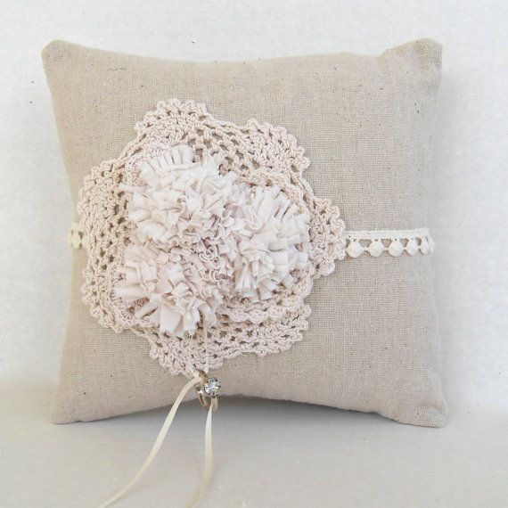 Country Chic wedding ring pillow rustic ring bearer by PaperFlora, $32.00