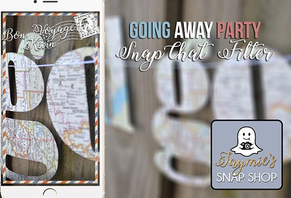 About:  SnapChat Geofilters are a great personal accessory to any party or celebration - its a great way for you and your friends to share your event with a customized frame specifically designed for you!  What you Receive:  With this listing you will receive one personalized 1080x1920 .png image that meets SnapChats requirements. It will be personalized with a custom farewell message on top - ideas: Bon Voyage, [Name] or Good Luck, [Name]. Please add this information to the message when you…