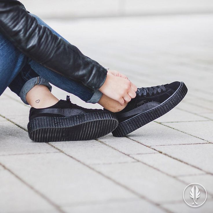 puma platform noir vernis