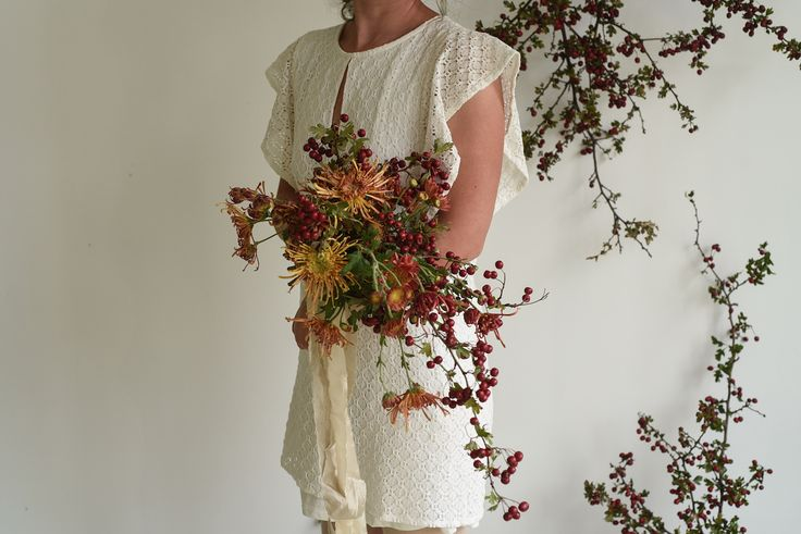 April Wedding, Installation, Hawthorn Arch, Berries, Chrysanthemums, cascading Bouquet, Bridal, silk ribbon, autumn colours