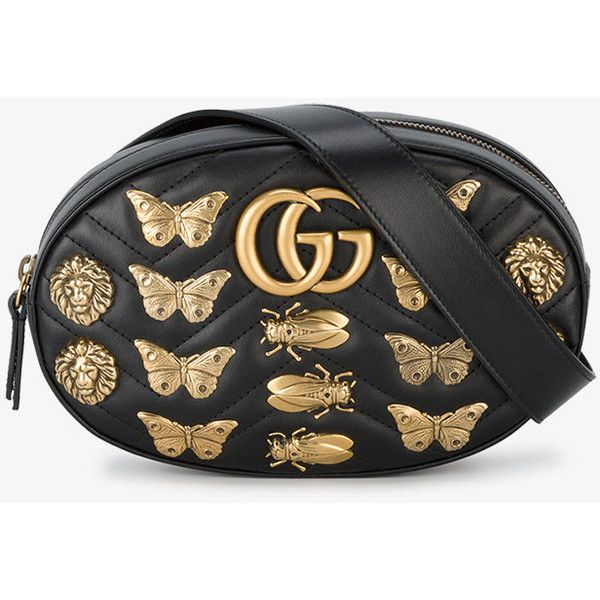 Gucci Gg Marmont Matelassé Animal Studs Belt Bag ($1,720) ❤ liked on Polyvore featuring bags, gucci, genuine leather bag, belt bag, leather bags and waist bag