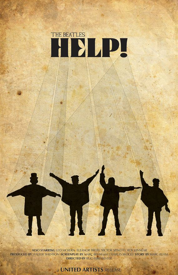 The Beatles Musical Print Help  11x17 Movie Poster by TheGeekerie, $18.00