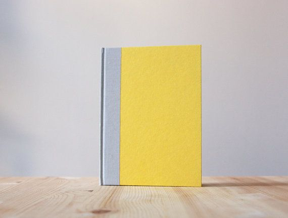Yallow and Grey Hardcover Notebook  Journal  by knotbooks on Etsy