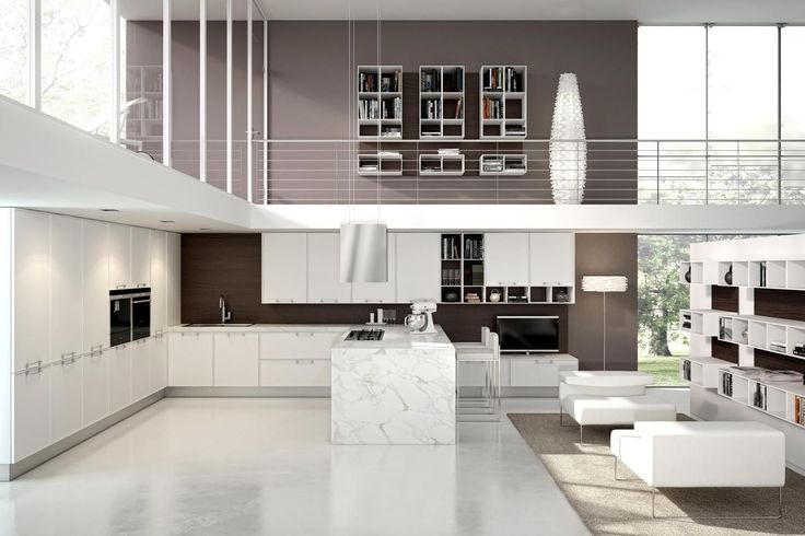 Aster Cucine Avenue Collection - kitchen designs. Open kitchen concept. Kitchen cabinets, light fixtures and countertops. Custom orders available at Astro!