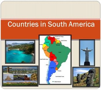 South America - Political map - Countries - PowerPoint presentation - Geography The zip file contains: 2 products - PowerPoint presentation  (18 slides)- PDF - 18 cards (Countries ; Area; Population) - Argentina- Bolivia- Brazil- Chile- Colombia- Ecuador- Falkland Islands  - French Guiana- Guyana- Paraguay- Peru- South Georgia and the South Sandwich Islands- Suriname- Trinidad and Tobago- Uruguay- VenezuelaI've given you 4 slides to look at in the Download Preview  take a look…