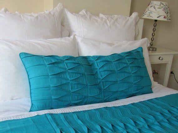 Pintuck bedding-Beach bedding-Shabby cottage chic pintuck body pillow-outdoor lumbar pillow cover -b