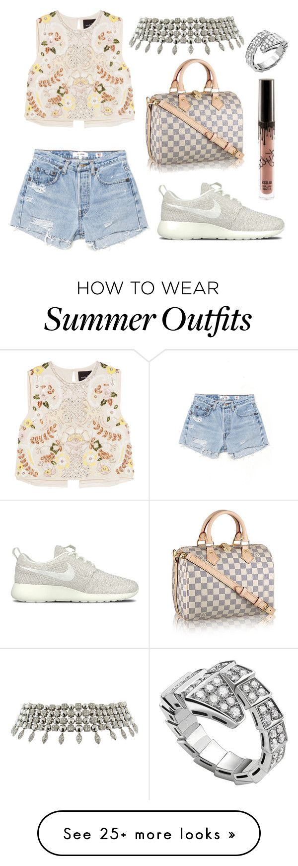 """Summer Outfit #119"" by fashionbymgda on Polyvore featuring Needle & Thread, RE/DONE, NIKE and Bulgari"