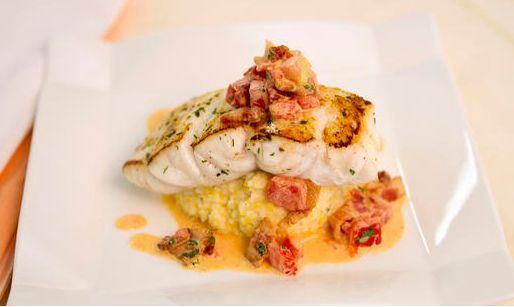 Pan Seared Florida Grouper with Smoked Gouda Grits and Tomato-Bacon Gravy...Need we say more? Click on the image and check out the recipe!