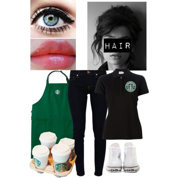 """""""Starbucks uniform"""" by nickisha435 on Polyvore-not crazy about the shirt, but otherwise it's all cute!"""