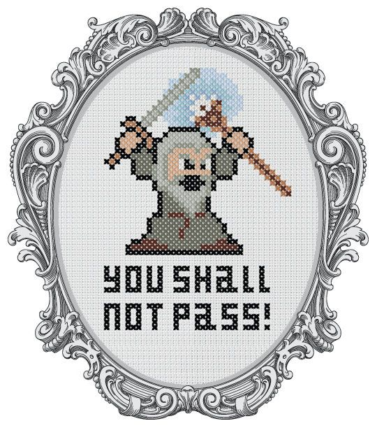 Lord of The Rings Counted Cross Stitch Pattern - Gandalf - You Shall Not Pass! - LOTR Parody Pattern