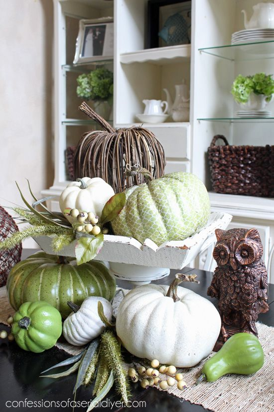 Fall Centerpiece on a budget, love this green and brown color combo!