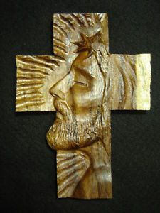 Wood Carving of Jesus Christ on Cross | ... WOODEN CROSS FACE OF CHRIST - FINE CARVED PAROTA WOOD JESUS CALVARY