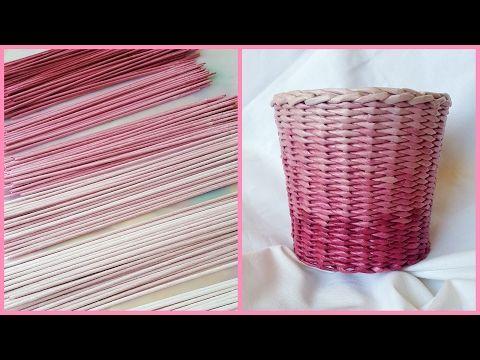Одноцветный градиент! Плетение корзиночки с градиентом! - YouTube