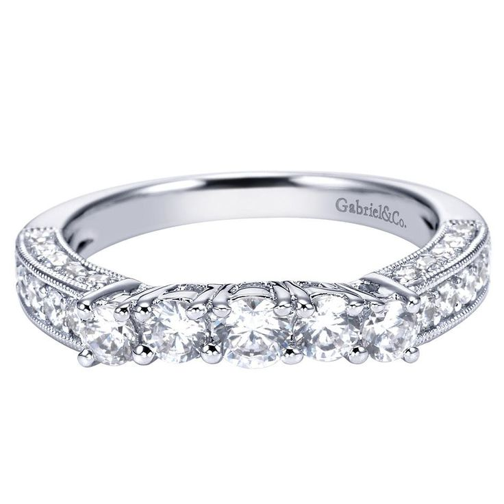 095 ct fg si diamond curved wedding band in 14k white