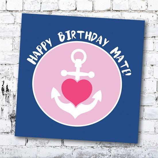 Happy Birhtday Mate! - Birthday Card - Sailor by Thingsforasmile on Etsy