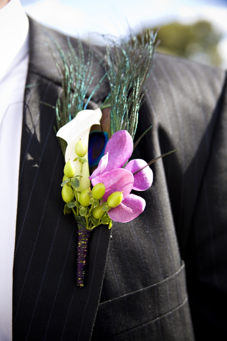 Purple & Blue Peacock Feather Groom's Boutonniere by Blume Events www.idoaz.com