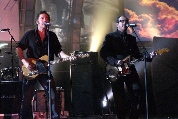 """The GRAMMYs called on Elvis Costello and Bruce Springsteen for a performance of """"London Calling"""" in tribute to the late Joe Strummer of the Clash at the 45th GRAMMYs in 2003: Joe Strummer, London Calling, Grammi Call, Elvis Costello, Late Joe, Bruce Springsteen, 2003, The Clash, 45Th Grammi"""
