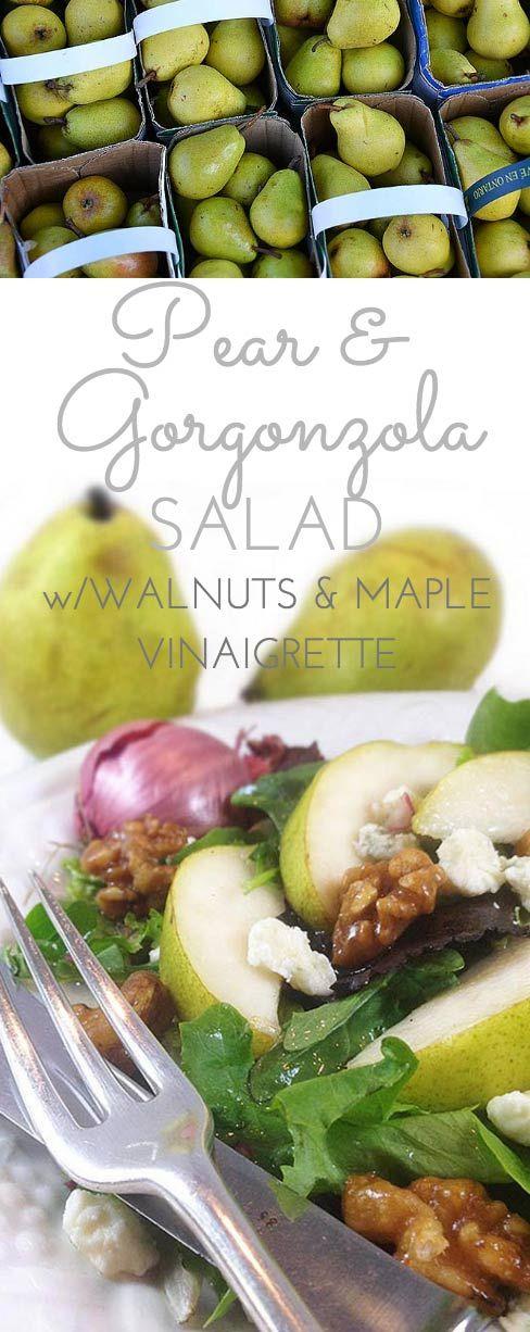 Pear Gorgonzola Salad w/Walnuts & Maple Vinaigrette: addictive salad. Sweet maple vinaigrette (w/pure maple syrup & shallots) complements salty gorgonzola & greens.