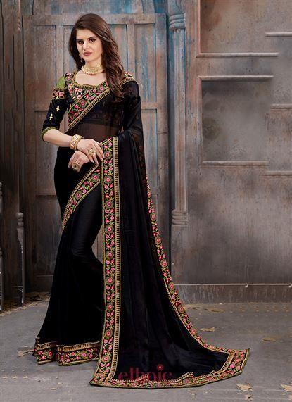 b88843bb866846 Black Two Tone Silk Lace Border Work Party Wear Wholesale Plain Saree 3154