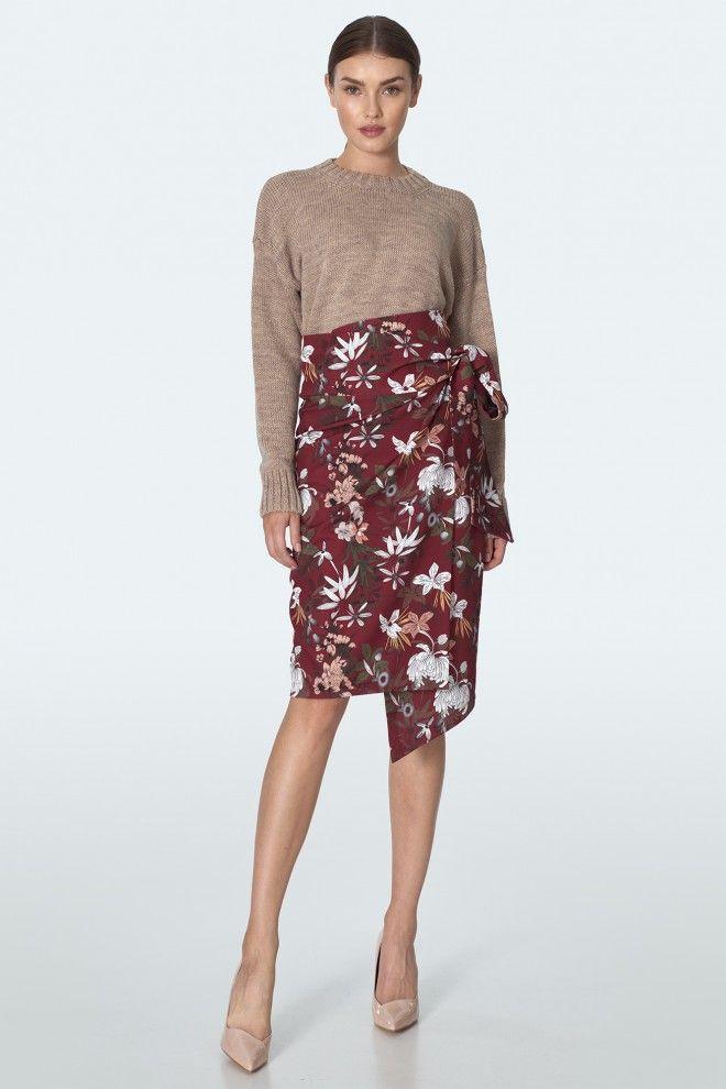 Bordowa Przekladana Spodnia W Kwiaty Womens Skirt Knee Length Skirt Pencil Skirts