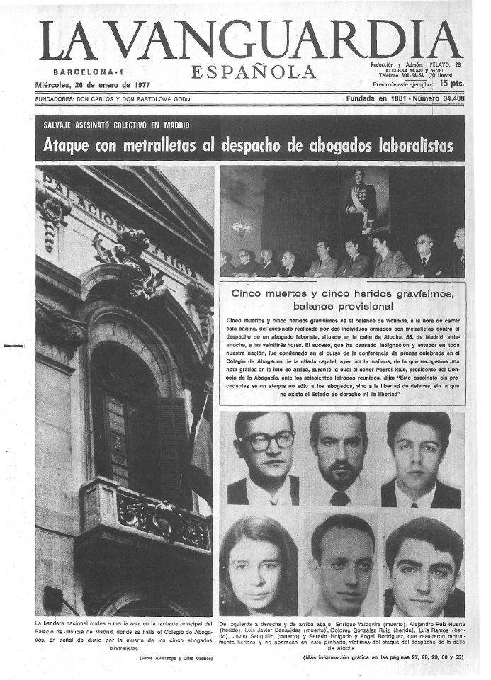 En la medianoche del 24 de enero de 1977 fueron asesinados en el bufete de abogados de la calle de Atocha 55, tres laboralistas, un estudiante y un representante sindical... http://hilvanadoamano.blogspot.com.es/2014/01/los-abogados-de-atocha.html