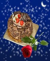 Single Red Rose with 500 gms Fresh Baked Chocolate Cake for night delivery