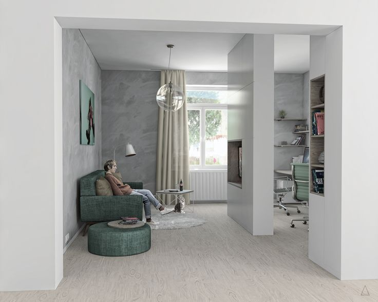 Small living room with a work area.